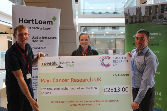 TOPSOIL Presents Cheque to Cancer Research UK